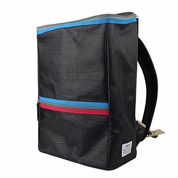 AMINAH-黑色間色方形後背包