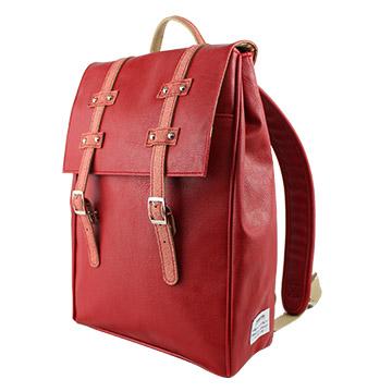 AMINAH-紅色文青後背包