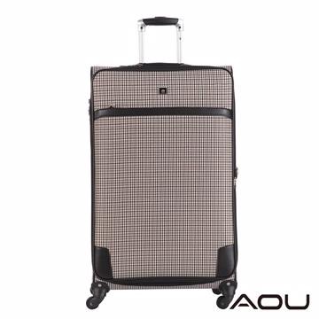 AOU微笑旅行 28吋 隨箱式TSA海關鎖 可加大 布面旅行箱(時尚千鳥格)1201A