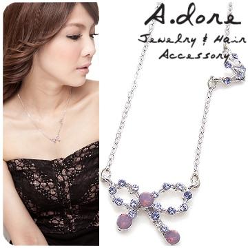 【A.dore】我的公主˙皇冠蝴蝶結晶水項晶鍊-紫羅蘭