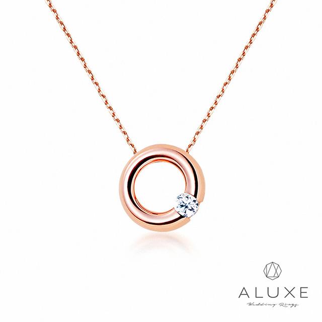 【ALUXE 亞立詩鑽石】Petite系列 The Classic玫瑰金美鑽項鍊