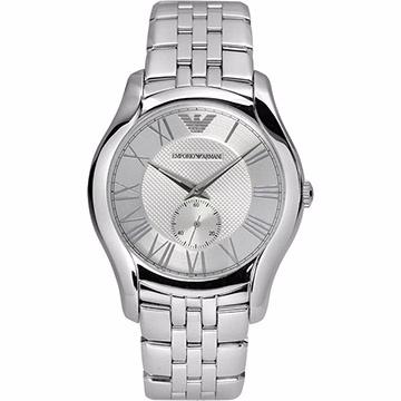 ARMANI Classic 羅馬時尚小秒針腕錶-銀 AR1788
