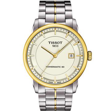 TISSOT T-Classic Luxury 機械腕錶-銀/半金 T0864072226100