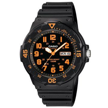 CASIO潛水風DIVER LOOK指針錶-橘數字