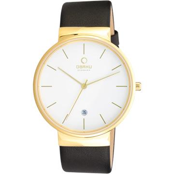 OBAKU 純粹經典三針日期時尚腕錶-黑帶金框白/皮帶