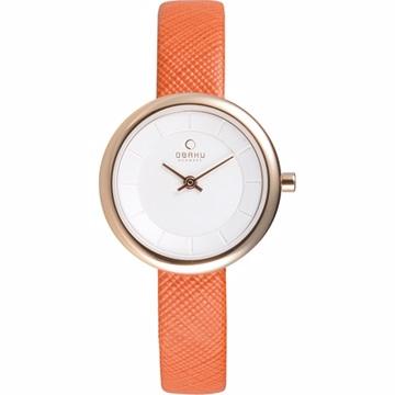 OBAKU 雅悅媛式時尚腕錶-玫瑰金框x橘帶