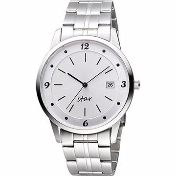 STAR 藝術時尚簡約風情腕錶-銀9T1407-231S-W
