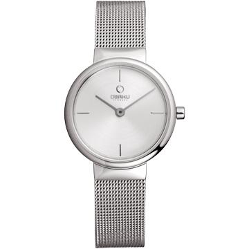 OBAKU  編織細紡米蘭時尚腕錶-銀