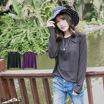 [S-7L熊衣褲語]X121可愛氣質.胸前抓皺蝴蝶結造型圓領上衣(黑、紫M-2L)