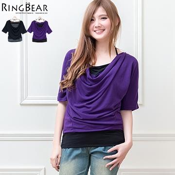 [S-7L熊衣褲語]修身好幫手.U316垂領假兩件設計下擺配色五分袖上衣(黑、紫M-2L)