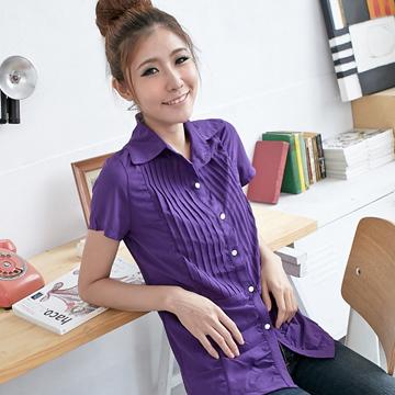[S-7L熊衣褲語]簡潔知性.H129壓摺抓皺設計短袖襯衫(白、黑、粉、紫S-3L)