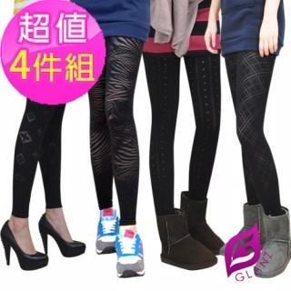 GLANZ格蘭絲 台灣製320丹 韓版究極顯瘦塑身美腿內搭九分襪(6款任選)*4件組