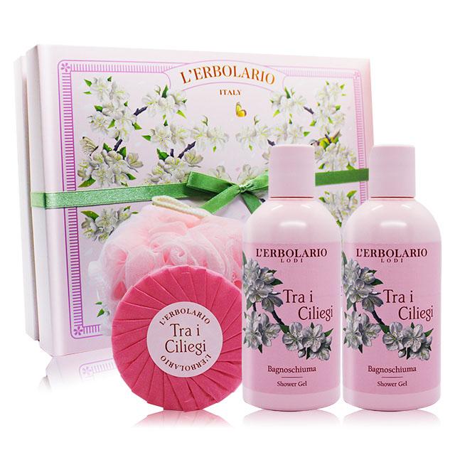 LERBOLARIO 蕾莉歐 櫻花樹甜蜜禮盒[沐浴膠250mlX2+植物皂100g+沐浴球]-百貨公司貨