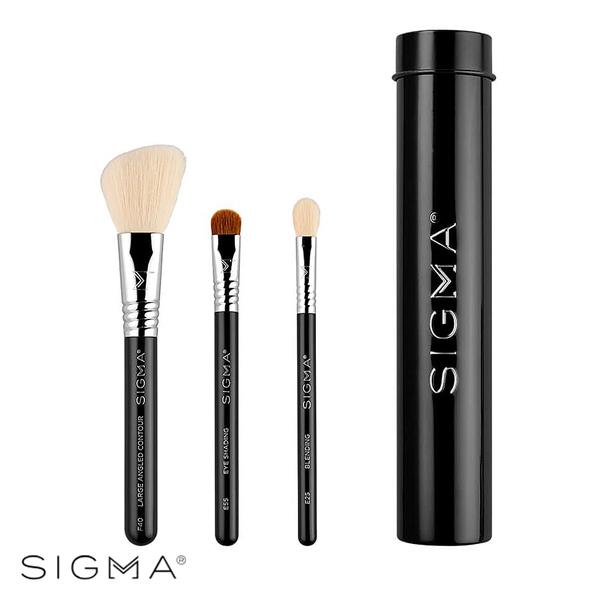 【Sigma】基本旅行刷具3件組(含刷具罐)-黑色 Essential Trio Brush Set