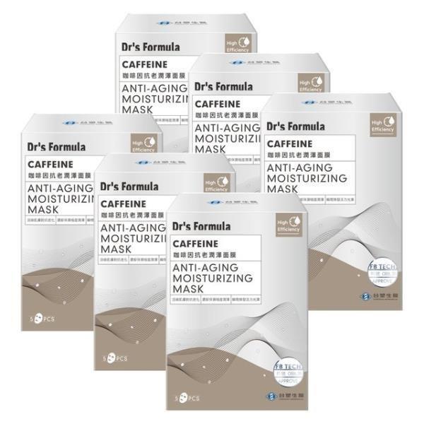 《台塑生醫》Dr's Formula咖啡因抗老潤澤面膜(5片/盒)*6盒入