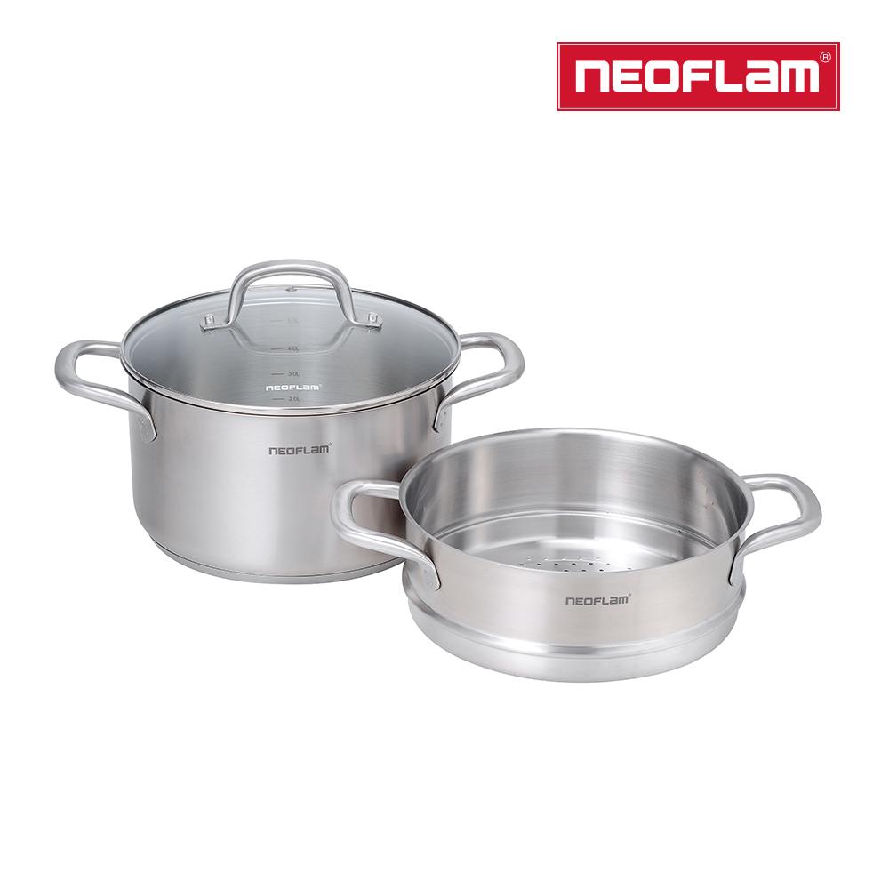 ㊣超值搶購↘52折NEOFLAM 不銹鋼316湯鍋24cm+蒸籠(含強化玻璃蓋)
