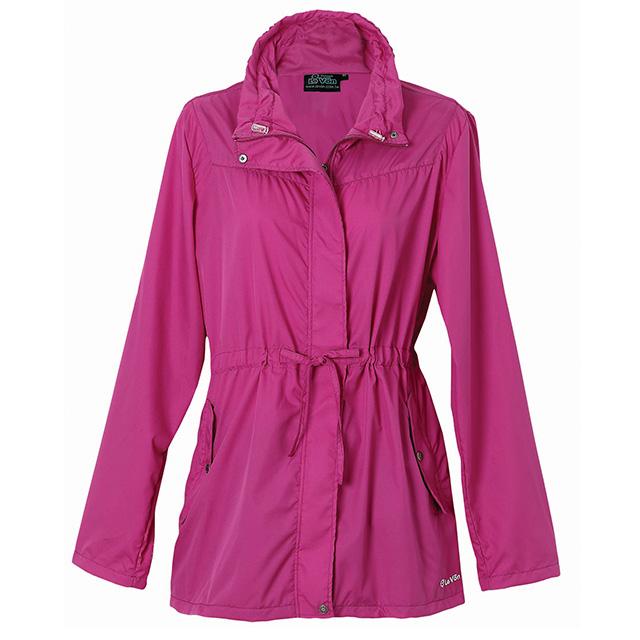 LV3211 女抗紫外線單層風衣(莓紫紅)