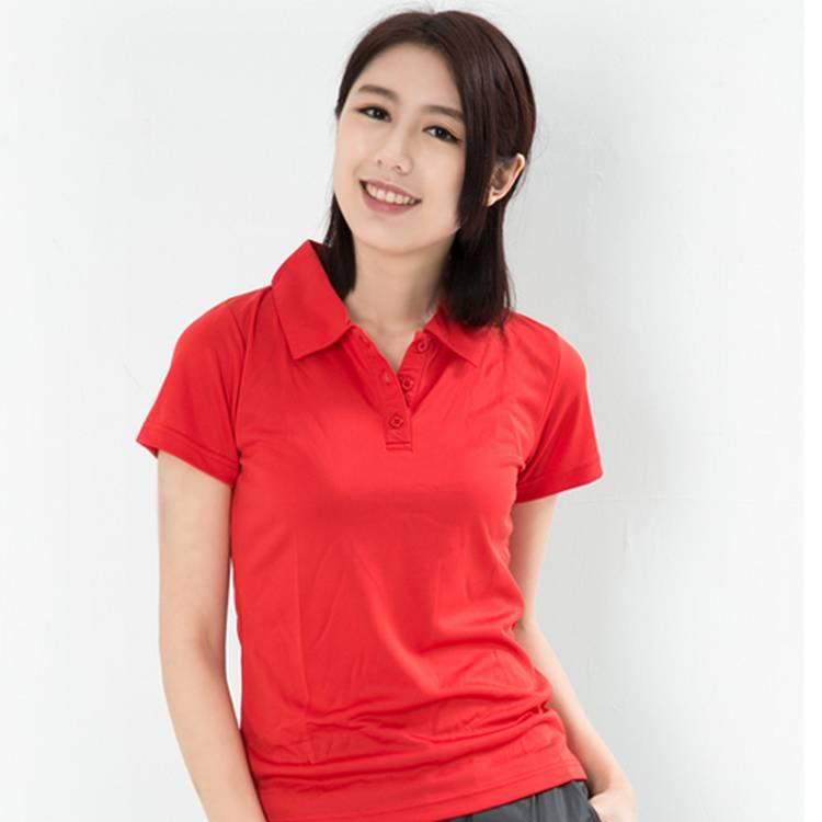 女性快速排汗POLO衫 紅
