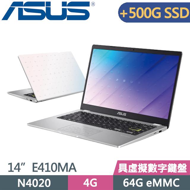 """ASUS Laptop E410MA-0111WN4020 白(N4020/4G/64G+500G SSD/14"""" HD/Win10S)特仕"""