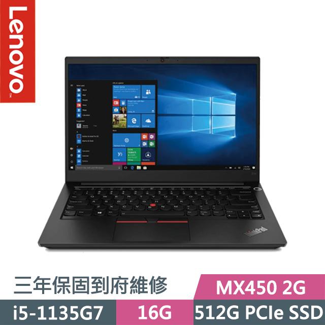 "Lenovo ThinkPad E14 黑(i5-1135G7/16G/512G SSD/MX450 2G/14"" FHD/Win10)"