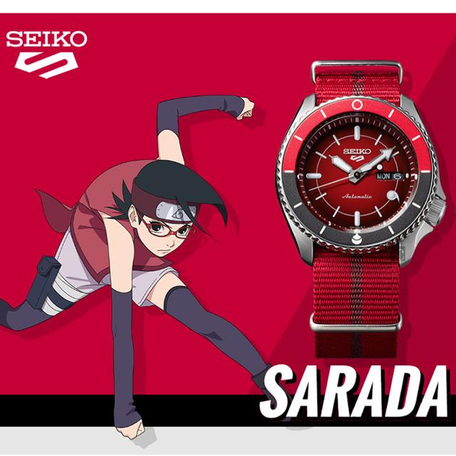 SEIKO 精工 5 Sports x 火影忍者 紗羅妲 聯名限量機械錶(SRPF67K1)-42.5mm