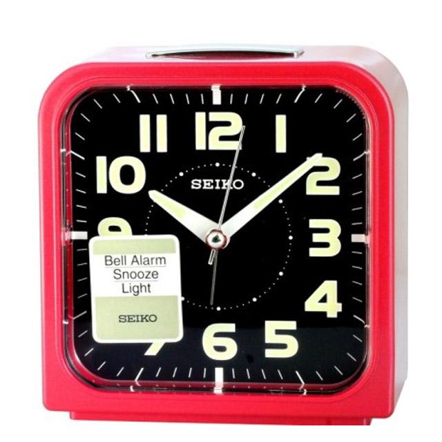 SEIKO 精工 精工色彩美學時尚鬧鐘(黑x紅框/QHK025R)
