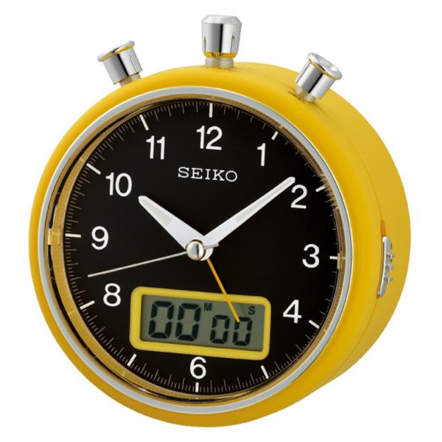 SEIKO 精工 碼錶造型夜光計時鬧鐘/黑/QHE114Y
