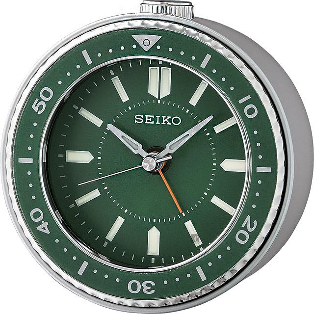 SEIKO 精工 潛水錶圈造型鬧鐘-綠 QHE184M