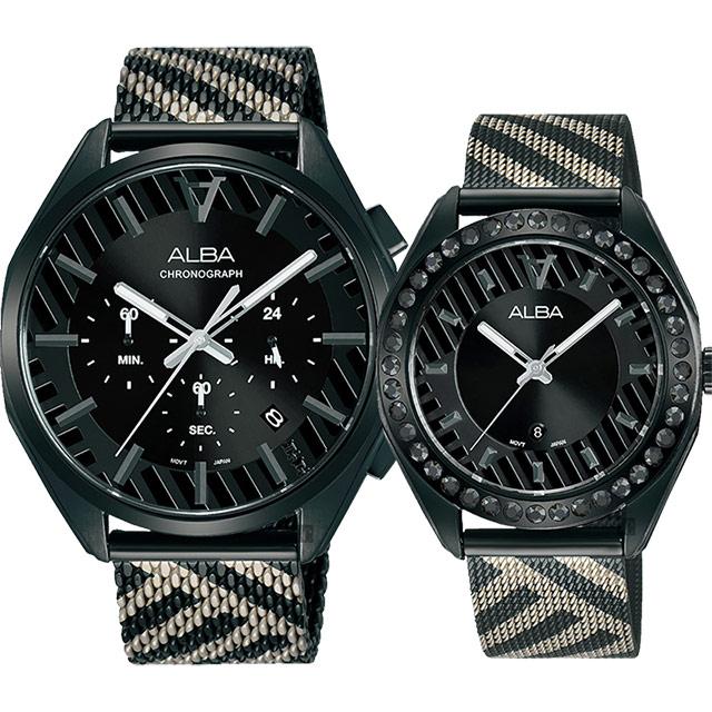 ALBA 限量東京街頭對錶 情侶手錶-42+36mm VD53-X374SD+VJ22-X336SD(AT3H07X1+AH7W69X1)