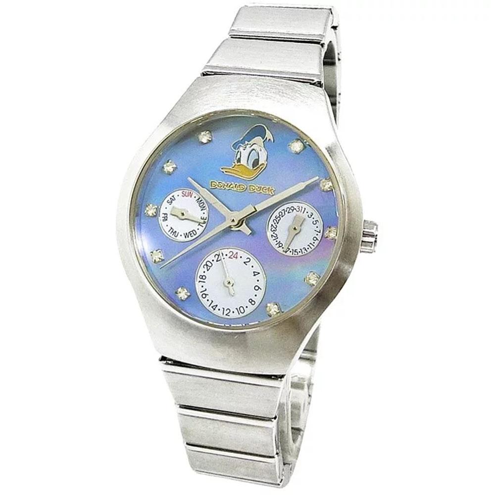【迪士尼】唐老鴨三眼鋼帶錶 (天空藍)