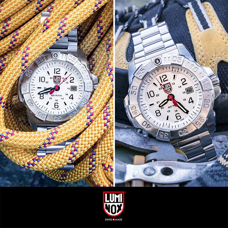 LUMINOX 雷明時NAVY SEAL STEEL 3250全新海豹2代鋼鏈腕錶-白武士/45mm