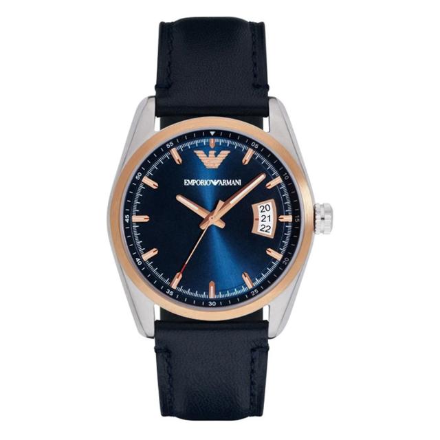 帝國 Emporio Armani 簡約都會型男皮革腕錶(深藍黑/玫瑰金)