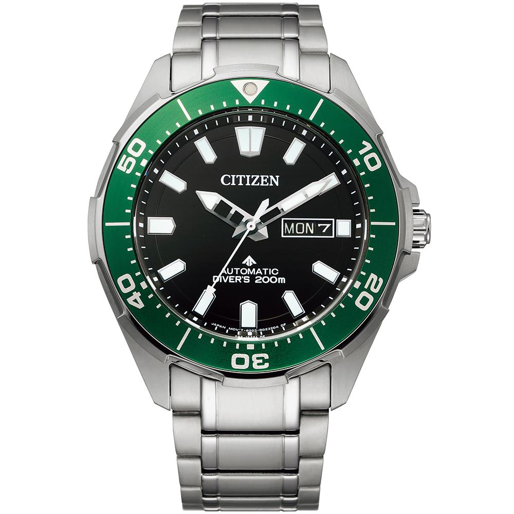 CITIZEN 星辰 PROMASTER 鈦金屬200米潛水機械錶/黑綠/43.5mm/NY0071-81E