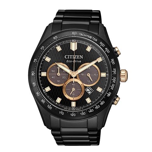 CITIZEN 準確時刻三眼計時光動能腕錶/CA4458-88E