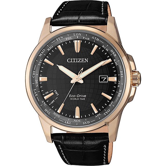 CITIZEN 星辰 限量光動能萬年曆手錶-玫瑰金框x黑/41mm BX1008-12E