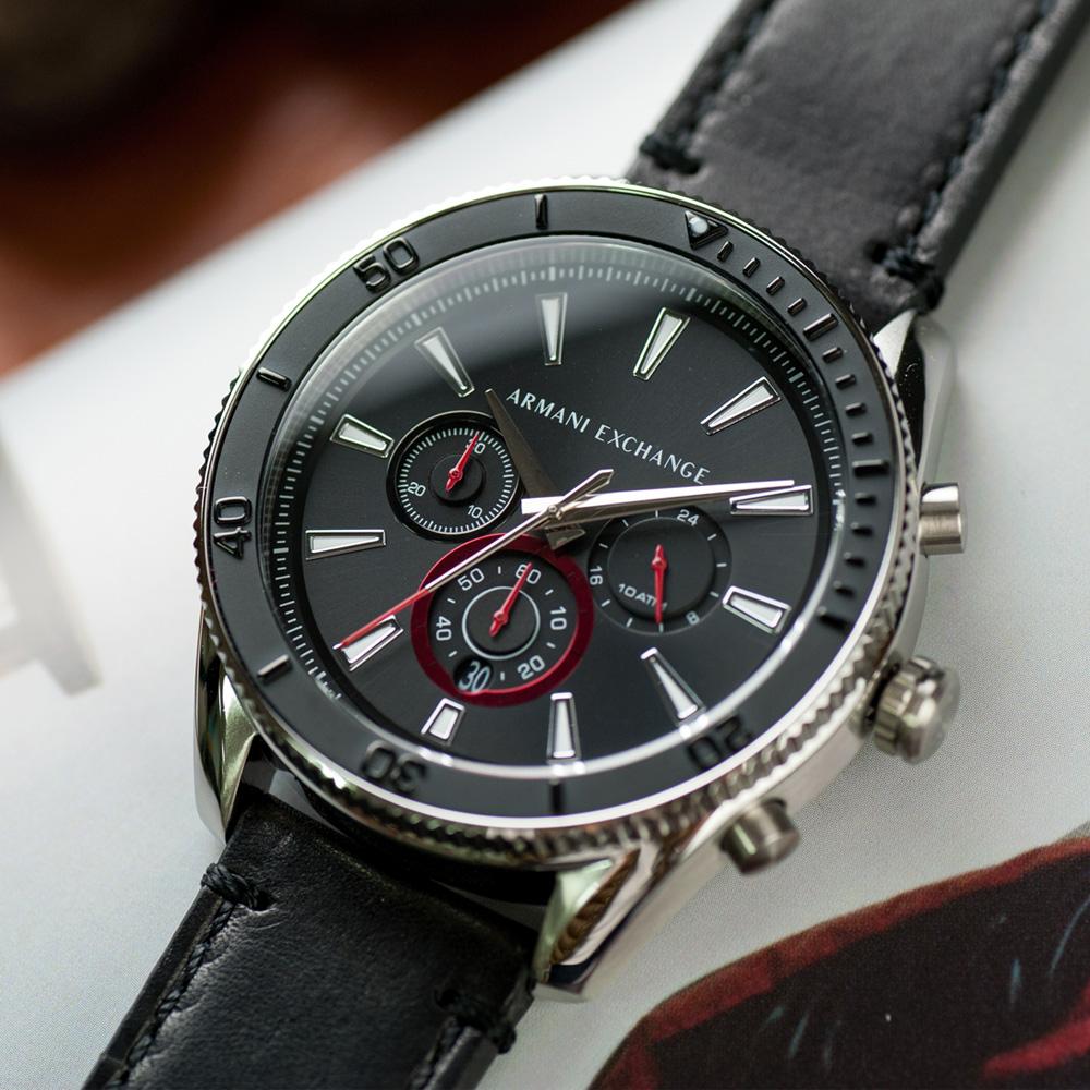 【ARMANI EXCHANGE】低調風範三眼計時皮革腕錶/黑x銀面(AX1817)