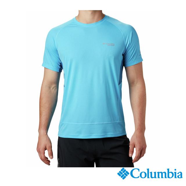 Columbia哥倫比亞 男款-野跑涼感快排短袖排汗衫-藍色 UAE02230BL