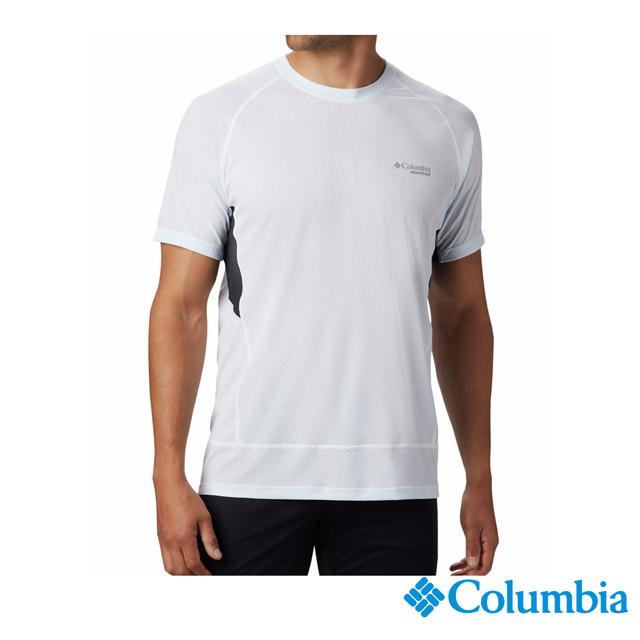 Columbia哥倫比亞 男款-野跑涼感快排短袖排汗衫-白色 UAE02230WT