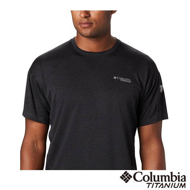 Columbia哥倫比亞 男款-鈦 涼感快排短袖排汗衫-黑色 UAE03100BK