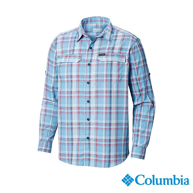 Columbia 哥倫比亞 男款-UPF50快排長袖襯衫-藍色格紋 UAE06490BC