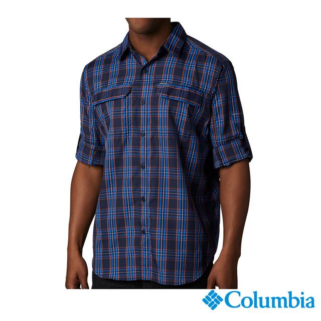 Columbia哥倫比亞 男款-防曬50快排襯衫-藍色格紋 UAE06490VC