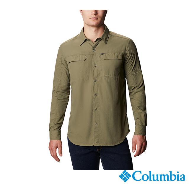 Columbia 哥倫比亞 男款-UPF50快排長袖襯衫-軍綠  UAE06510AG