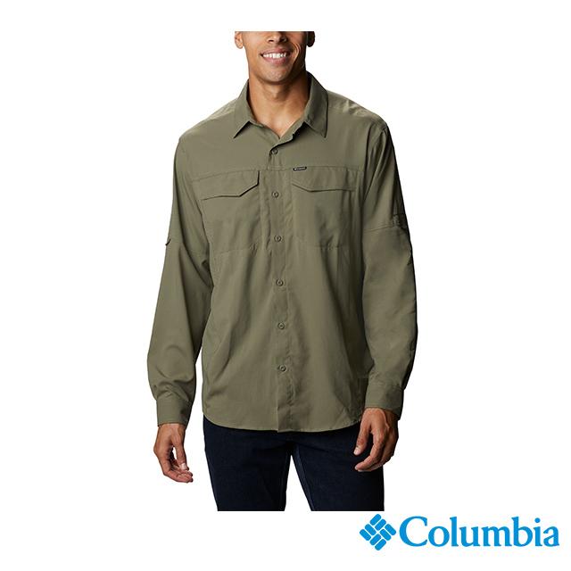 Columbia 哥倫比亞 男款-UPF40快排長袖襯衫-軍綠  UAE15680AG