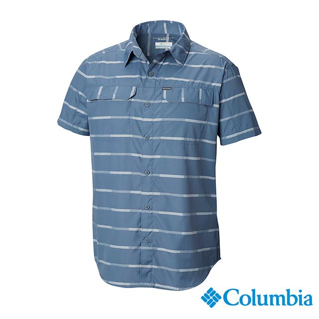 Columbia 哥倫比亞 男款-UPF30快排短袖襯衫-墨藍 UAE06480IB