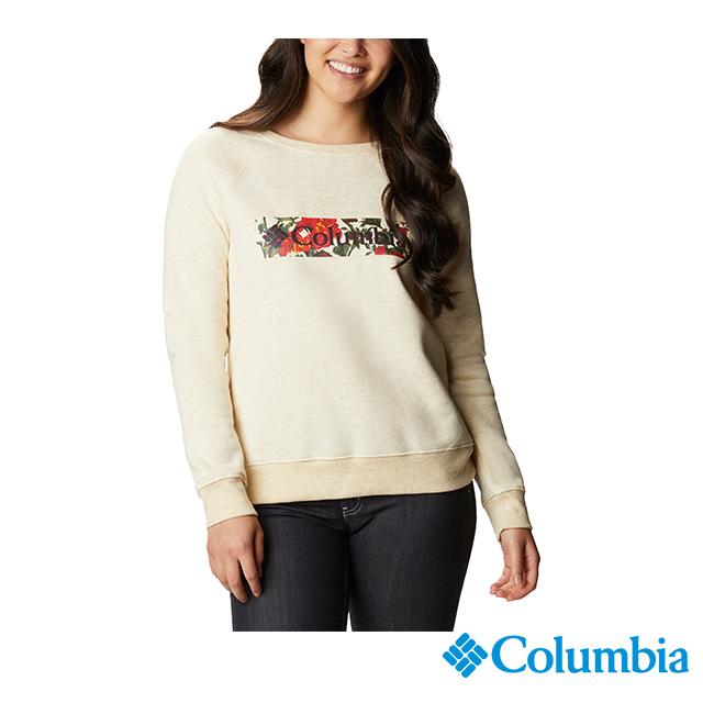 Columbia哥倫比亞 女款-長袖LOGO上衣-卡其 UAR29430KI