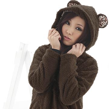 [S-7L熊衣褲語]J41冬天最可愛的款式.豹紋內裡連帽毛毛小熊外套(黑、咖M-2L)