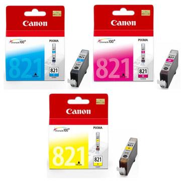 CANON CLI-821Y+M+C 原廠彩色墨水組合(3彩)