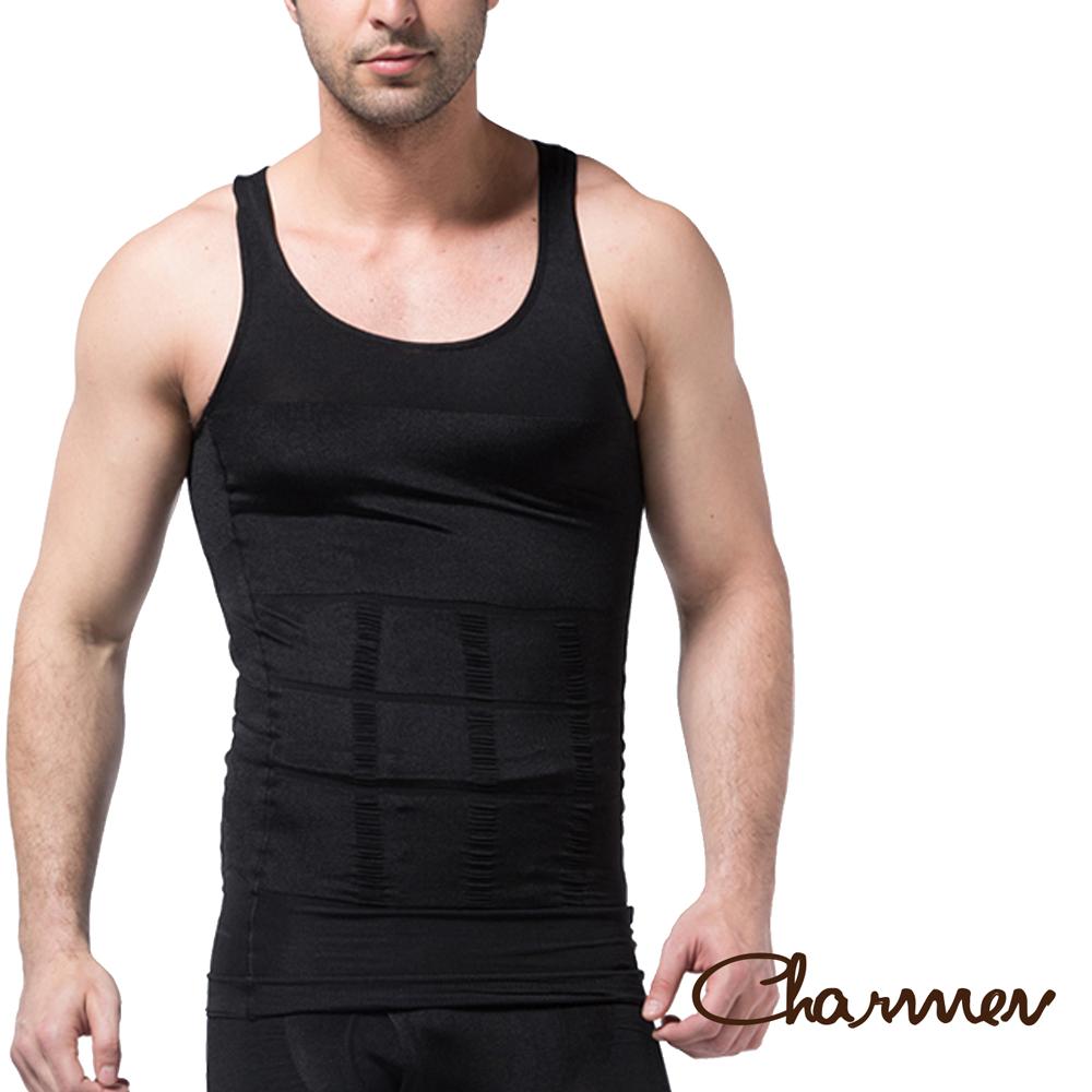 Charmen 坦克加壓版背心 男性塑身衣 黑色