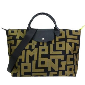 LONGCHAMP Le Pliage LGP系列滿版字母尼龍短把兩用旅行袋(大/黑X卡其綠)
