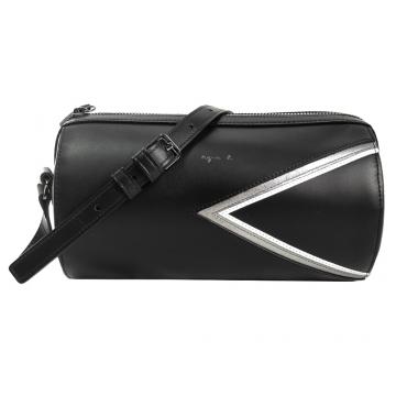 agnes b.燙金logo三角幾何圓桶皮革斜背包(黑)